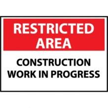 NMCRA6-1014A_-00_White-Red-Black_Front_Restricted-Area-Construction-Work-In-Progress-10x14--040-Aluminum-Sign